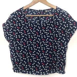 Divided by H&M navy blue bow blouse